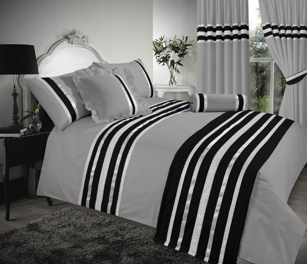 Charcoal Silver Black Stylish Duvet Cover Luxury Beautiful